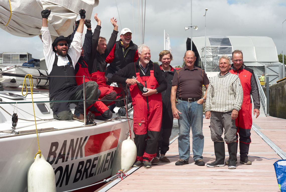 Crew of Bank von Bremen at the finish of the Round Rockall Race 2012