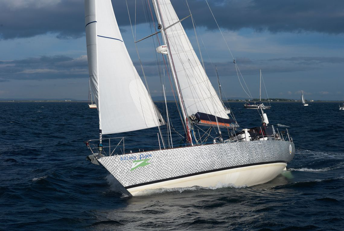 Jamie Young on Killary Flyer at the start of the 2012 Round Rockall Race.