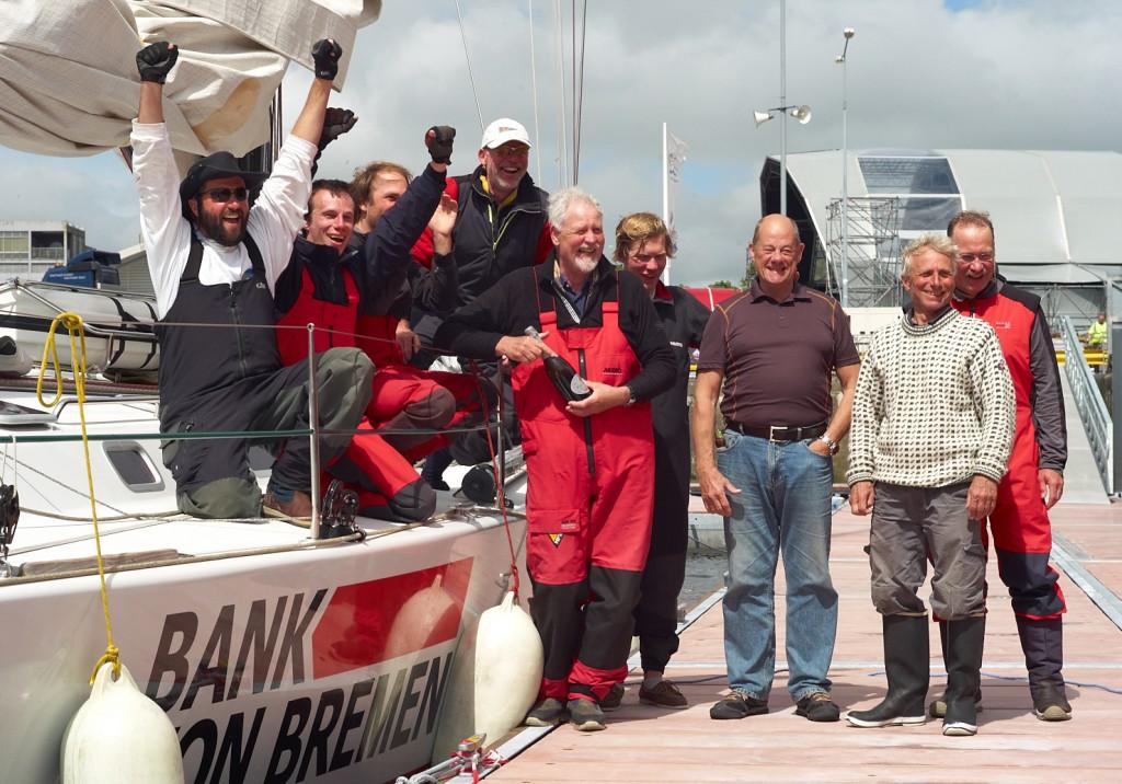 Crew of Bank von Bremen 1st home to Galway in Round Rockall Race